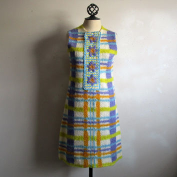 Vintage 60s Knit Scooter Dress Iris Blue Wool Plaid Striped GoGo 1960s Day Dress Small