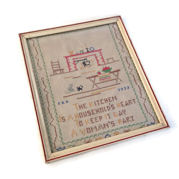 Vintage Cross Stitch Sampler, Dated 1933, Embroidery Wall Hanging, Retro Kitchen Decor, Kitchen Theme Embroidery, Initials of Maker, Framed