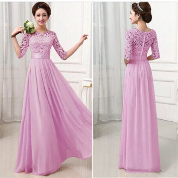 New Fashion Women's 3/4 Sleeve Lace Chiffon Patchwork Prom Ball Gown Cocktail Party Evening Maxi Dress