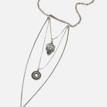 Black Jeweled Triple Layer Necklace - Silver