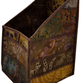 Pencil and Tool Organizer in Brown Batik