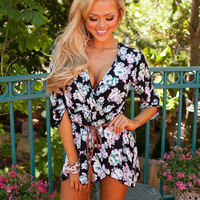Because of You Floral Romper Black
