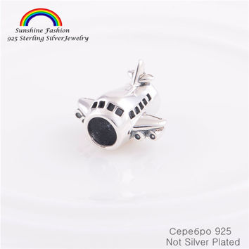 Pure 925-Sterling-Silver Shining Plane Beads Fits Pandora Bracelet Silver charm Chamilia Charms Bracelet DIY Jewelry Making