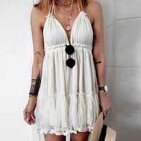 Sexy Beige Black Lace Halter Dress Women V Neck Backless Party Mini Dress Ruffles Back Lace Up Beach Sundress