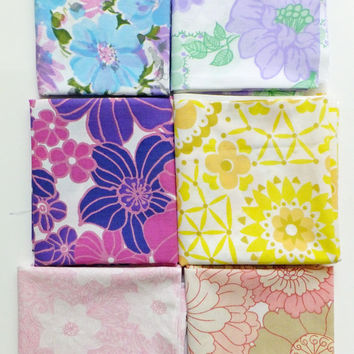 Retro Material, 6 Fat Quarters, Pink, Purple, Yellow, Fabric Bundle, Vintage Sheets, Fabric yardage, Quilting