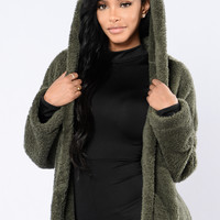 Cuddle Season Jacket - Olive