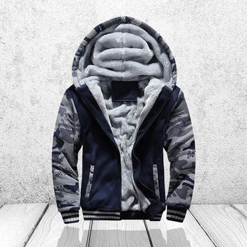 Winter Sweatshirt Men Hoodie Male Coat Hooded Brand Casual Zipper Thicken Velvet moleton Man Tracksuit Jackets Parkas Inner Wool