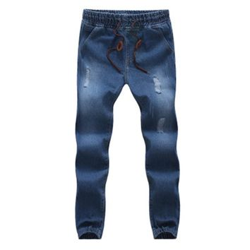 N 2017 Male Denim Jeans Mens trousers Casual Ankle Length Straight Loose Fit Harlan Pants cowboy feet  M-5XL