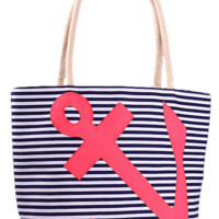 Anchor Tote - Navy Stripes With Red Anchor