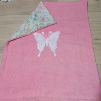 doll fleece bedding fits 18 inch american girl doll bed pink fleece embroidered butterfly blanket green backing