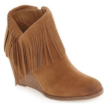 Lucky Brand Yachin Honey Oiled Suede Wedge Booties