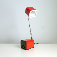 Mid Century Modern Telescopic Desk Lamp - Red - Table Lamp - BAHAG AG, Germany - Mad Men, 1970's, Eames Panton Era, Gift For Him