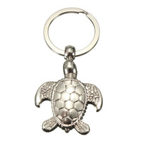 3D Sea Turtle Model Silver Keychain