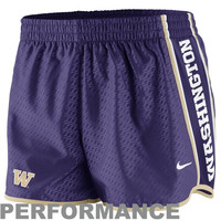 Nike Washington Huskies Womens Chainmaille Pacer Performance Shorts - Purple