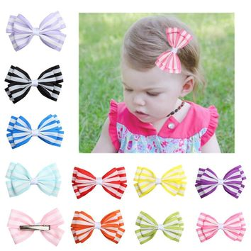 1 Pc Cute Baby Girls Stripe Bow Knot Kids Hair Clip Fresh Hair Accessory Toddler Girls Hair Clip Beautiful Hair Ornament