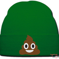 emoji shit beanie knit hat