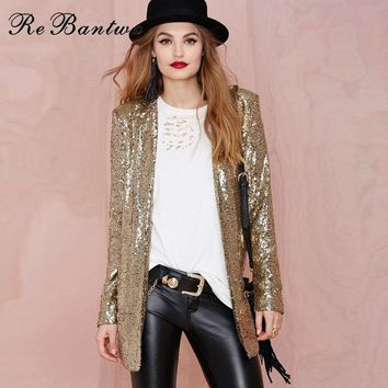 Rebantwa 2017 Autumn Street Punk Blazer Jacket Women Fashion New Gold Silver Sequined Coats Casual Outerwears Cardigan Jackets