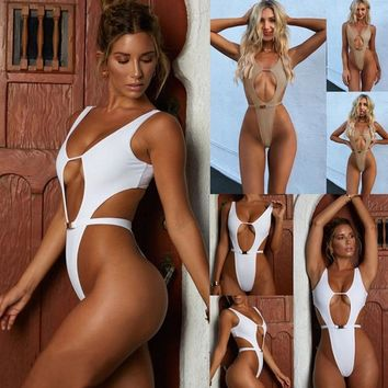 One Piece Swimsuit Bikini 2019 Push Up Bathing Suits Plus Size Swimwear Hollow Out High Waist Swim Suit White Black Bikini Thong