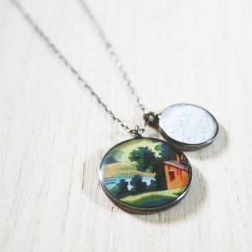 Paint by Number Necklace - red barn farm sterling silver resin charm on delicate chain - vintage ephemera jewelry