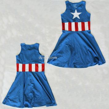 Licensed cool Marvel  Captain America Fit & Flare Skater Cosplay Costume dress JRS S NEW