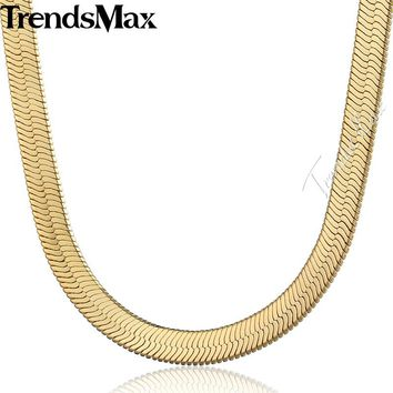 Trendsmax Womens Mens Gold Necklace Herringbone Snake Chain Fashion Jewelry GNM38