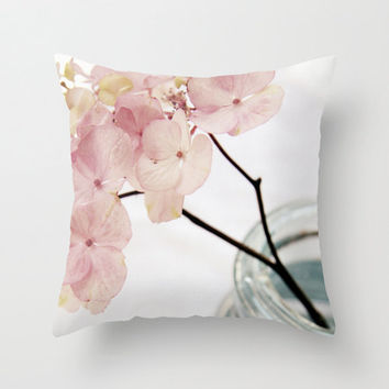 Pink Flowers in Blue Jar - Throw Pillow Cover - Minimalist