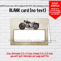Instant Download, blank Card, Motorcycle #668 bike, food tent Card, place card, 3.5x2.5inch printable , non-editable NOT CUSTOMIZABLE
