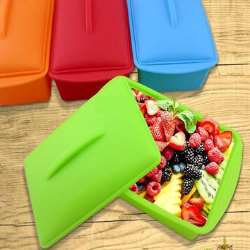 Silicone Lunch Dinnerware Box sets Eco-friendly Food Fruit Vagetable Storage Container Microwave Tableware Bento Box Keep Fresh