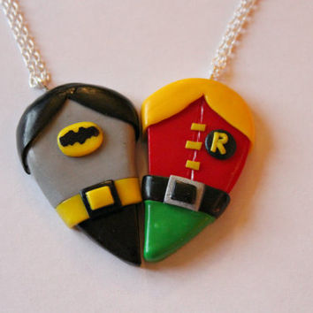 Batman and Robin Friendship Necklaces or Magnets