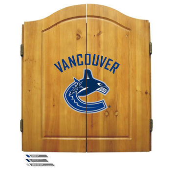 Vancouver Canucks NHL Dart Board w-Cabinet