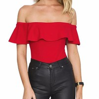 Sandra Off The Shoulder Bodysuit Top