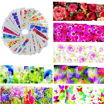 50sheets Color Flowers  Hot Designs Watermark Nail Stickers Temporary Tattoos DIY Tips Nail Art Decals Manicure Beauty Tools