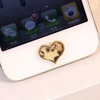 1 pcs Bling Leopard Horsehair Heart iPhone samsung Home Button Sticker for iPhone 4,4s,4g, iPhone 5,5s,5c iPad, samsung galaxy s3 note2 N7100 s3 4 home button