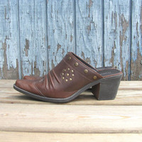 Vintage brown western Ankle Mules Booties // Womens shoes Size 7.5
