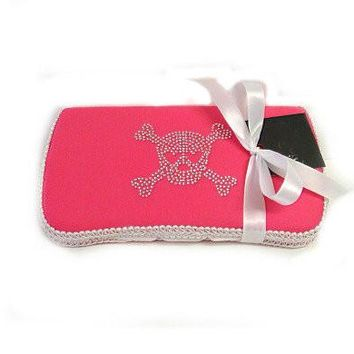 Pink Bling Skull Travel Baby Wipes Case