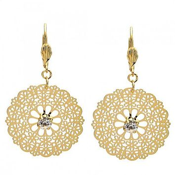 Gold Layered 061.001 Dangle Earring, Flower and Filigree Design, with White Crystal, Polished Finish, Golden Tone