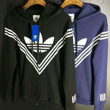 Adidas Classic Three Stripe Popular Women Men Leisure Long Sleeve Hoodie Sweater Pullover Top I-CR-CP-WM-YD