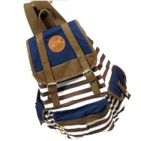 Autofor 2013 New Arrival Unisex Fashionable Canvas Backpack School Bag Super Cute Stripe School College Laptop Bag for Teens Girls Boys Students - Brown Stripe