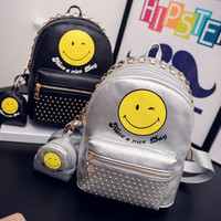 Fashion Rivet Women leather Smiley Face Emoji Printing Backpacks