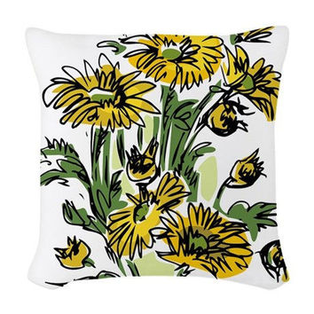 YELLOW DAISY woven throw pillow * couch pillows * decorative pillow