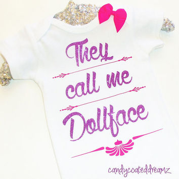 They call me dollface Onesuit bodysuit t-shirt girls fashionista trendy popular bow couture clothes dress toddler kids custom pretty
