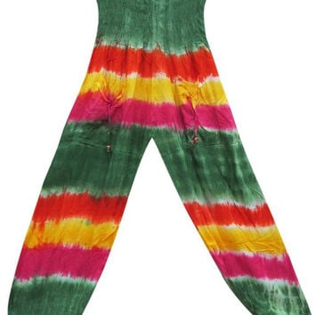 Belly Dance Pant Women's Gypsy Cotton Tie Dye Boho Indie Harem Pants (Green)