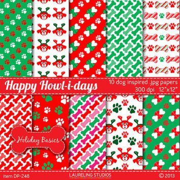 holiday dog digital paper, pet scrapbook supplies, Christmas scrapbooking, paw print paper DIGITAL DOWNLOAD DP248