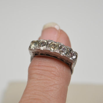 Antique Sterling Silver Ring 5 Clear Rhinestones Art Deco Styling Vintage Silver Ring Art Deco Ring Antique Ring Size 6