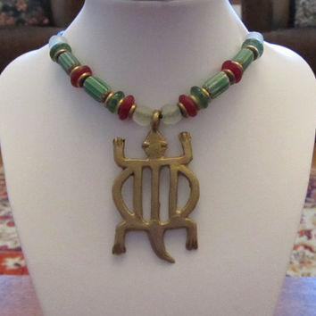 Ghanaian Brass Tribal Crocodile Pendant With Glass Trade Chevron, Powder Glass and Brass Bead Necklace 18""