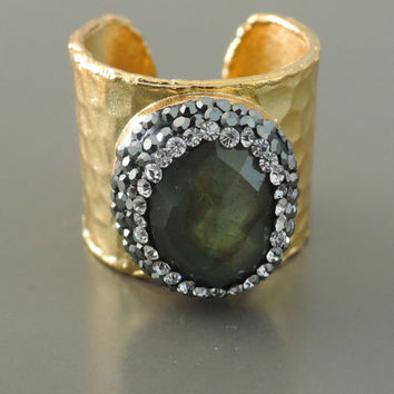 Statement Ring - Labradorite Ring - Gemstone Ring - Boho Ring - Pave Ring - Black Crystal Ring - Adjustable Ring