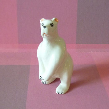 Bear figurine ceramic -miniature white bear -white bear statue -Doll house Miniature animal figure -gift -collectible dolls - Tiny animals