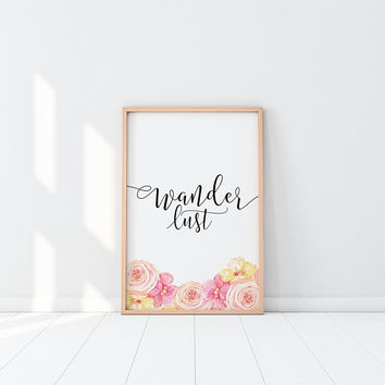 Wanderlust Wall Art Watercolor Print Boho Chic Printable Art Quote Prints Boho Decor Watercolor Painting Instant Download Tropical Decor