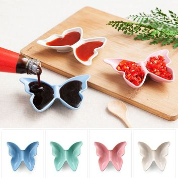 New Butterfly Shape Soy Sauce Dish Straw Material Wasabi Sacue Small Plate Bowl