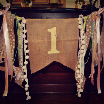 Adorable burlap high chair banner with vintage/rustic feel